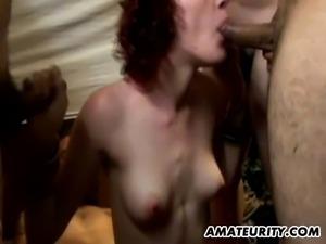 gangbang cumshots brutal wife threesome and
