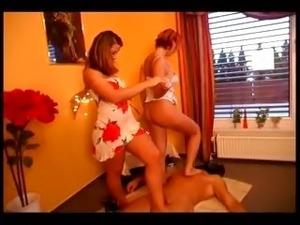 Hot lesbian spanking