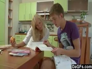 mature young lesbian kitchen