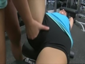Girl with big boobs at the gym