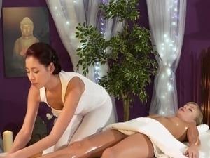 busty ebony lesbians oil massage