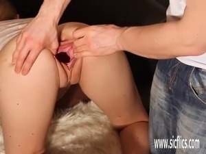 gaping pussy filled with cum
