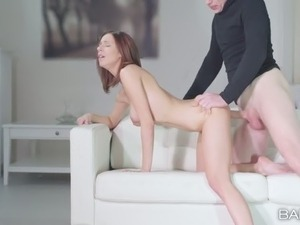 sexy red head audrey anal creampie