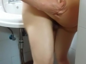 Lesbians having sex in the bathroom