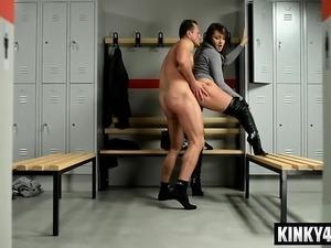 strap dildo anal worship femdom threesome