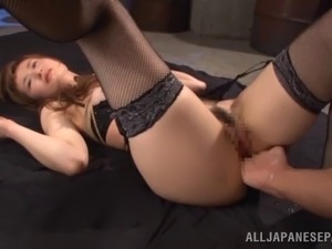 petite brunette dildoing orgasm in stockings