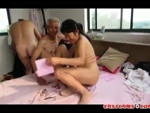Asian granny black cock