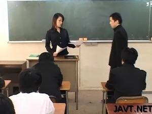 asian teacher feels young girls boobs